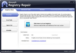 Registry Repair Glarysoft